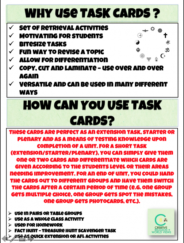 Task cards T&L Resources